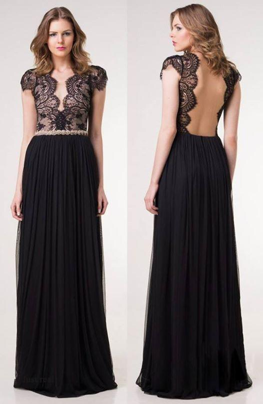 Pure Color Lace Deep V-neck Backless Long Dress - Meet Yours Fashion - 2