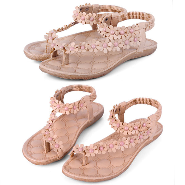 Women Bohemia Flower Beads Flip-flop Shoes Flat Sandals - MeetYoursFashion - 5