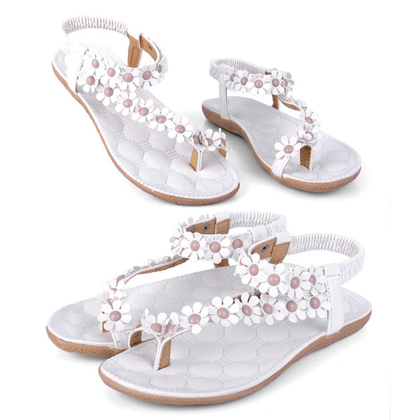 Women Bohemia Flower Beads Flip-flop Shoes Flat Sandals - MeetYoursFashion - 6