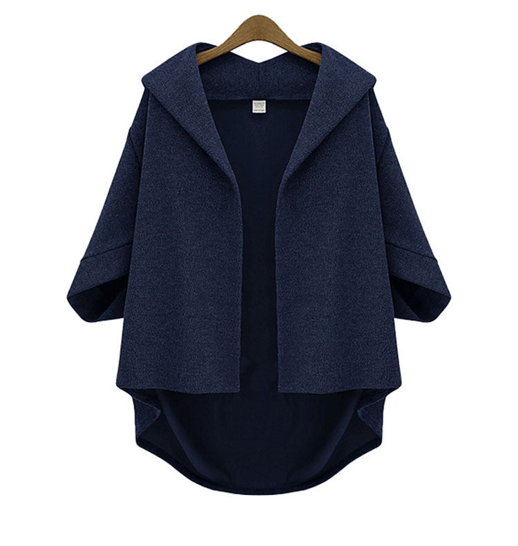 Solid 3/4 Sleeves Cardigan Batwing Plus Size Coat - Meet Yours Fashion - 6