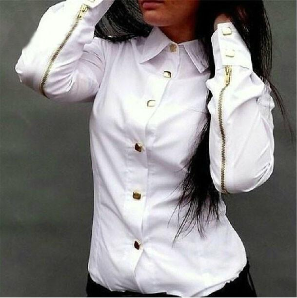 Rivet Double Zipper Turn-down Collar Slim Blouse - Meet Yours Fashion - 5