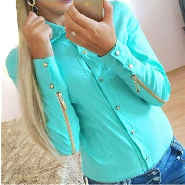 Rivet Double Zipper Turn-down Collar Slim Blouse - Meet Yours Fashion - 2
