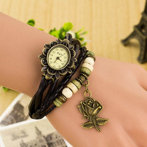 Retro Style Rose Pendant Multilayer Watch