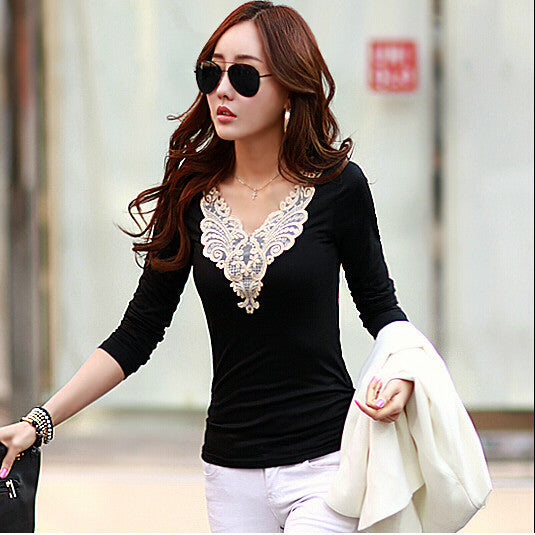 Plus Size Lace Patchwork Slim Long Sleeves V-neck Blouse