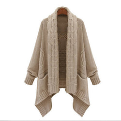 Cardigan Loose Upset Asymmetric Pure Color Sweater - Meet Yours Fashion - 2