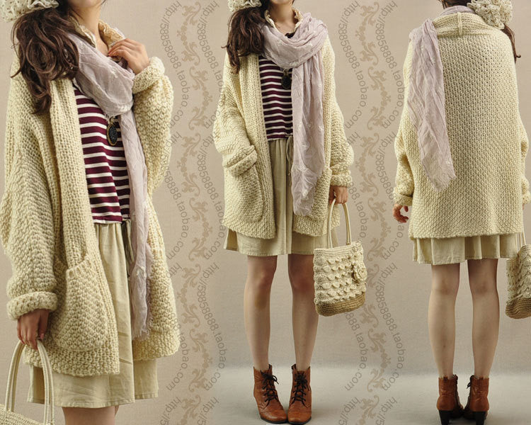 Cardigan Knit Coarse Yarn Batwing Loose Sweater - Meet Yours Fashion - 5