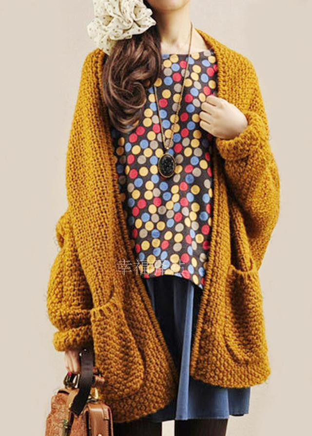 Cardigan Knit Coarse Yarn Batwing Loose Sweater - Meet Yours Fashion - 1