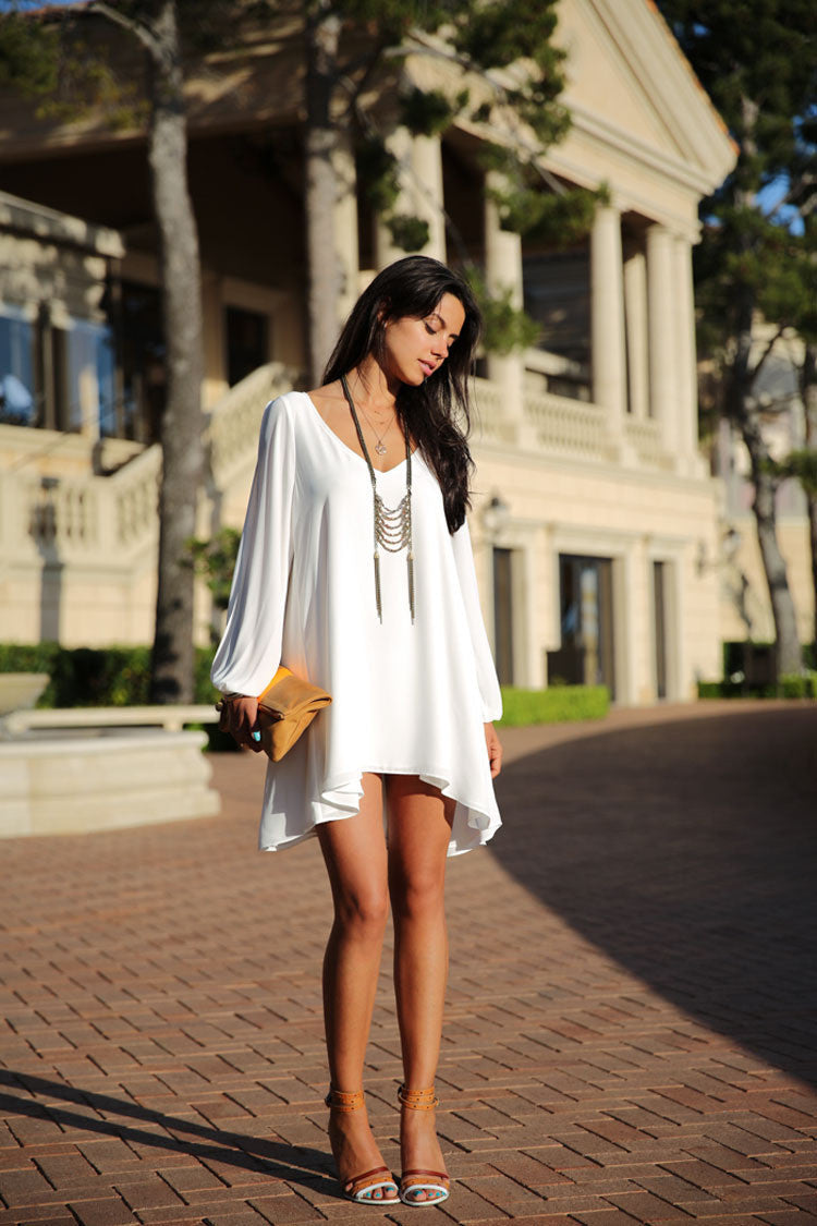 V-Neck Split Long Sleeve Chiffon Loose Short Dress - MeetYoursFashion - 5