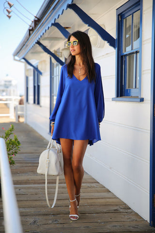 V-Neck Split Long Sleeve Chiffon Loose Short Dress - MeetYoursFashion - 6
