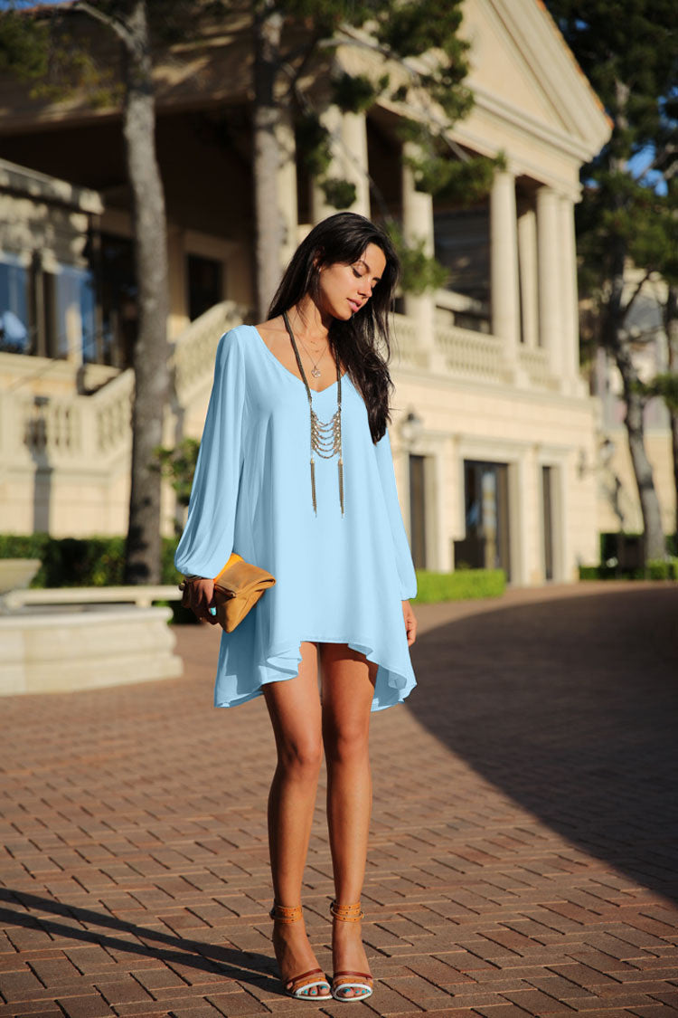 V-Neck Split Long Sleeve Chiffon Loose Short Dress - MeetYoursFashion - 8