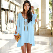 V-Neck Split Long Sleeve Chiffon Loose Short Dress - MeetYoursFashion - 1