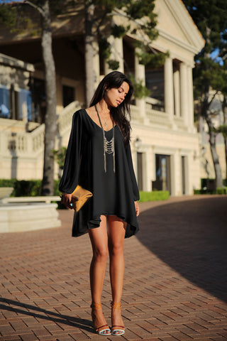 V-Neck Split Long Sleeve Chiffon Loose Short Dress - MeetYoursFashion - 9