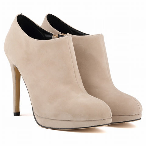 Suede High-End Round Head Zipper Ankle Boots