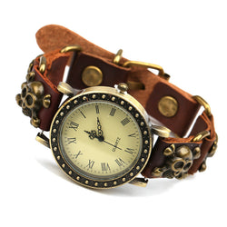 Punk Skull Rivet Buckle Bracelet Watch