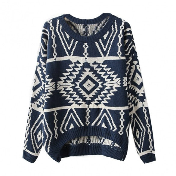 Women Loose Geometry Printed Pullover Sweater - MeetYoursFashion - 3