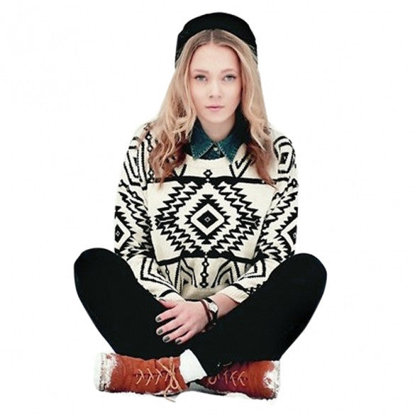 Women Loose Geometry Printed Pullover Sweater - MeetYoursFashion - 4