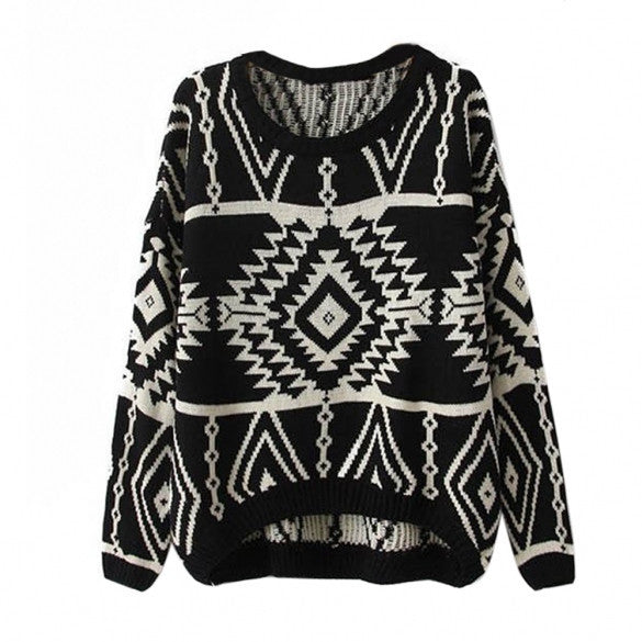Women Loose Geometry Printed Pullover Sweater - MeetYoursFashion - 7