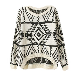 Women Loose Geometry Printed Pullover Sweater - MeetYoursFashion - 1