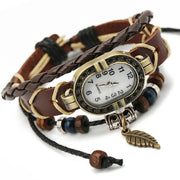 Retro Braided Leather Bracelet Watch