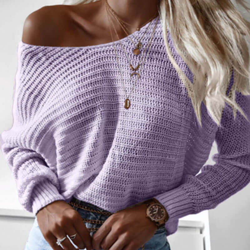 Loose Solid Knitted Sweater