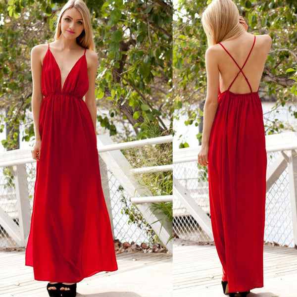 Deep V-neck Straps Split Backless Long Dress - MeetYoursFashion - 6