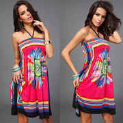 Hot Style Strapless Flower Print Bohemia Knee-length Dress