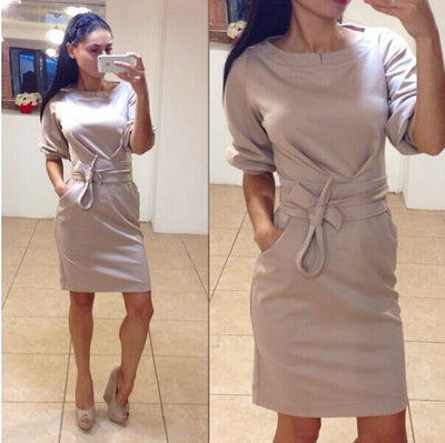 Scoop Half Sleeves Pure Color Short Dress - Meet Yours Fashion - 2