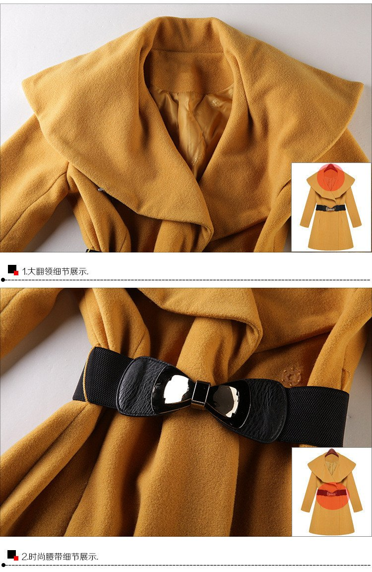Lapel Collar Slim Long Wool Coat - Meet Yours Fashion - 5