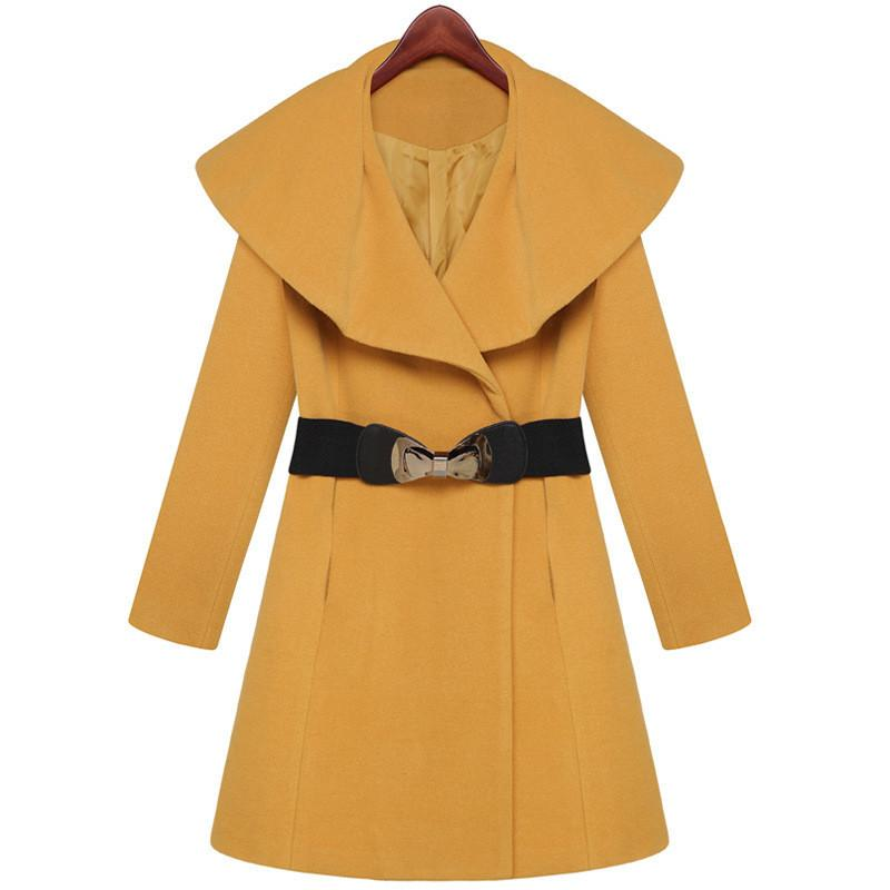 Lapel Collar Slim Long Wool Coat - Meet Yours Fashion - 2