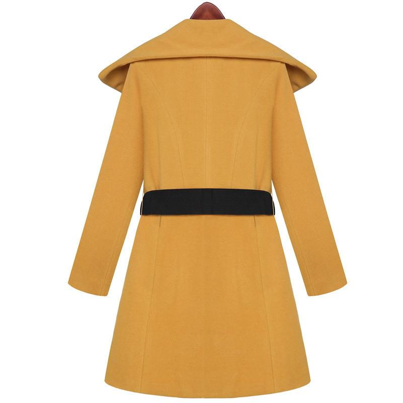 Lapel Collar Slim Long Wool Coat - Meet Yours Fashion - 3
