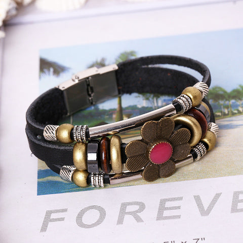 Fashion Flower Multilayer Leather Bracelet