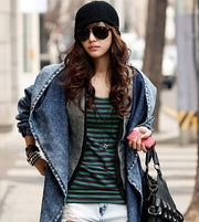 Hooded Irregular Belt Casual Mid-length Long Sleeves Denim Coat - Meet Yours Fashion - 4