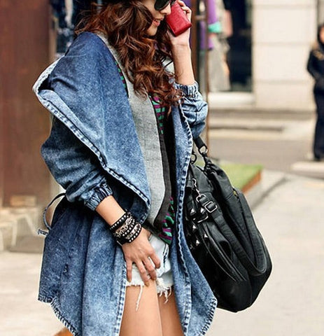 Hooded Irregular Belt Casual Mid-length Long Sleeves Denim Coat - Meet Yours Fashion - 5