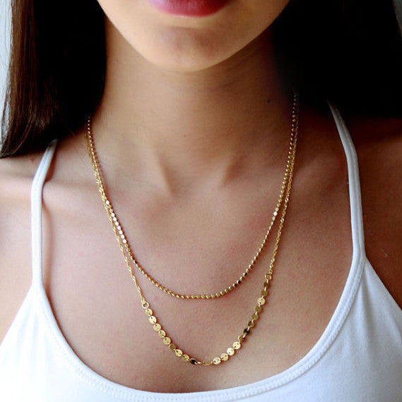Fashion Sequined Double Layers Necklace