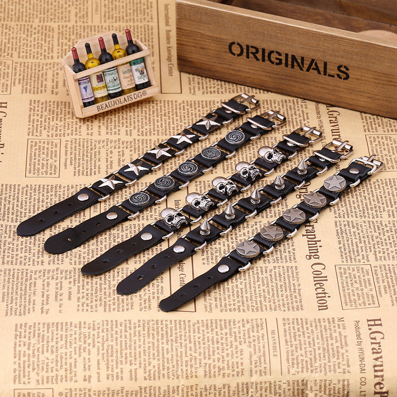 Punk Style Exaggerate Rivet Leather Bracelet