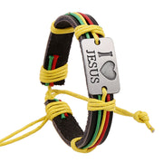 I Love Jesus Color Leather Bracelet