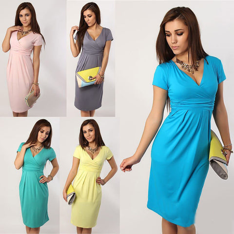 V-Neck Short Sleeves Knee-Length Pregnant Dress - MeetYoursFashion - 6
