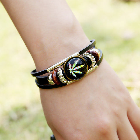 Retro Time Gem Leaves Bracelet