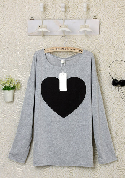 2016 Heart Pattern Long Sleeve T-Shirt - Meet Yours Fashion - 6