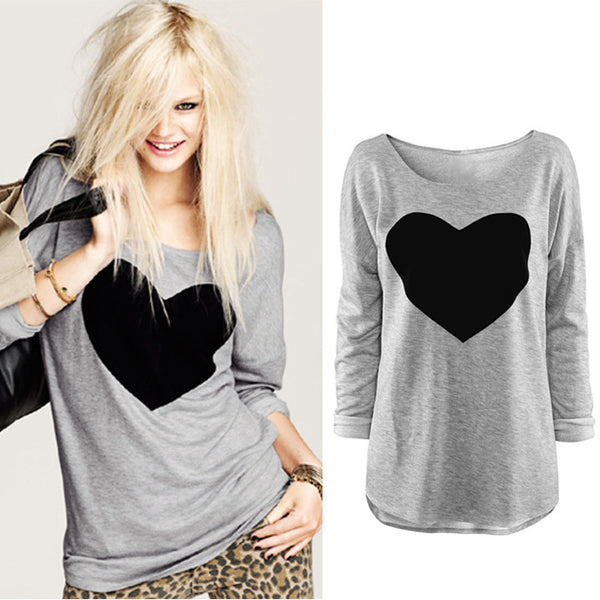 2016 Heart Pattern Long Sleeve T-Shirt - Meet Yours Fashion - 2
