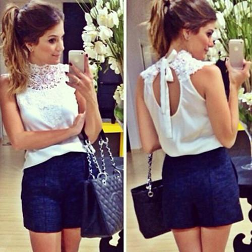 Lace High Neck Sleeveless Backless Slim Blouse - Meet Yours Fashion - 2
