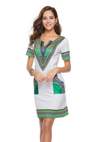 Retro Short Sleeves Short Print Dress