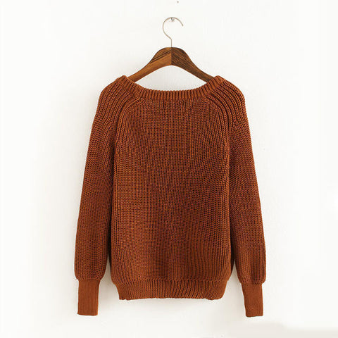 Pullover Loose Scoop Retro Bold Lines Sweater - Meet Yours Fashion - 8