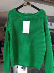Pullover Loose Scoop Retro Bold Lines Sweater - Meet Yours Fashion - 5