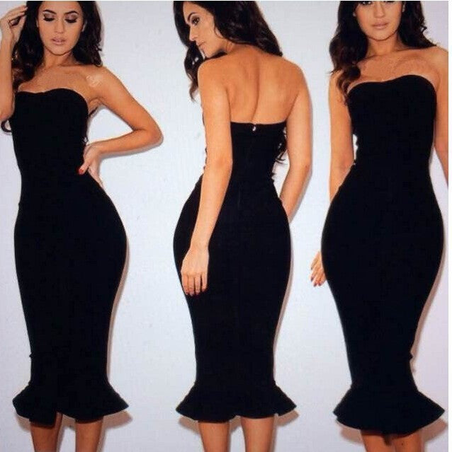 Strapless Sheath Bodycon Mermaid Tee Length Dress - Meet Yours Fashion - 2