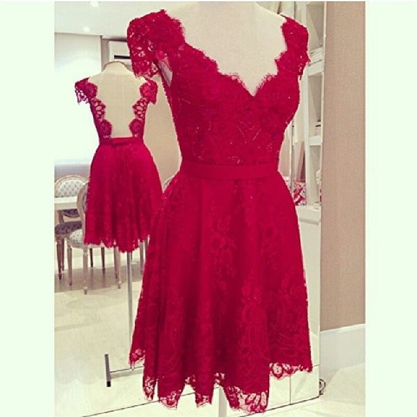V-Neck Cap Sleeves Backless Short Lace Party Dress - MeetYoursFashion - 3