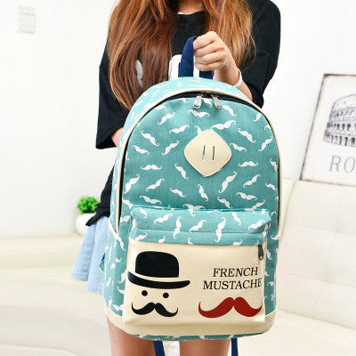 Mustache Print Fashion Backpack School Bag - Meet Yours Fashion - 3