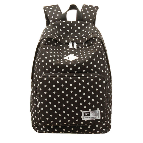 Polka Dot Print Korea School Backpack Travel Bag - Meet Yours Fashion - 3