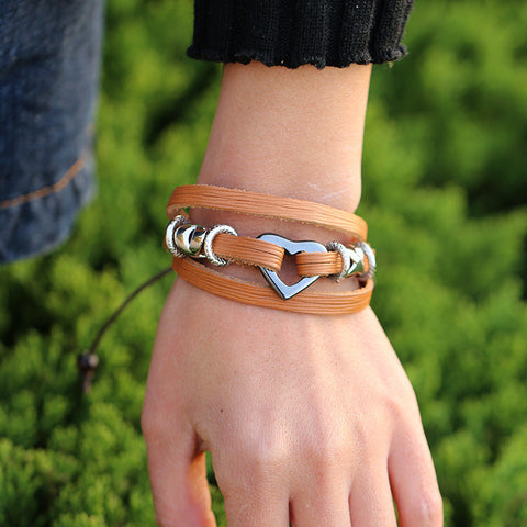 Heart X Mark Multilayer Bracelet