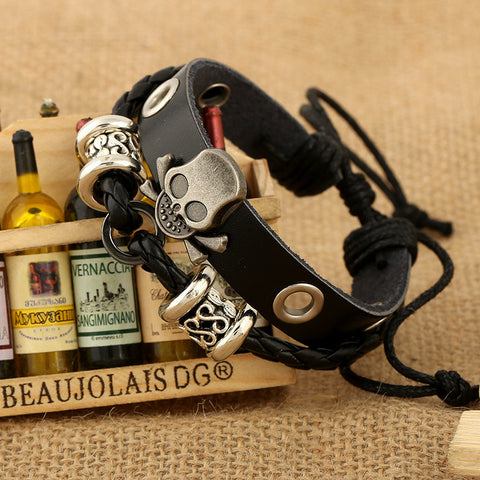 Beaded Skull Leather Bracelet